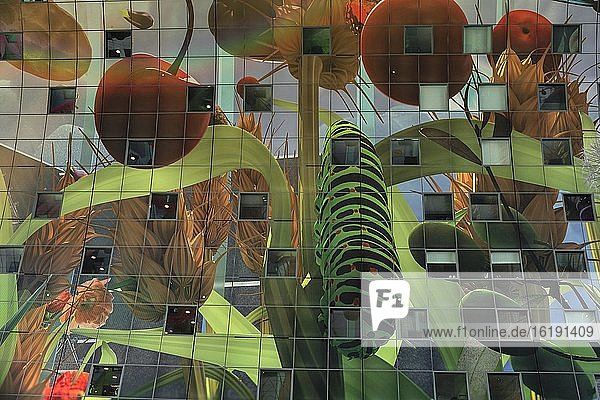 Neue Markthalle  Kunstwerk an der Hallendecke  Markthal  Rotterdam  Südholland  Niederlande  Europa
