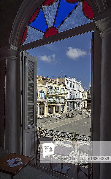 Colonial architecture in Plaza Vieja from hotel balcony  Havana  Cuba