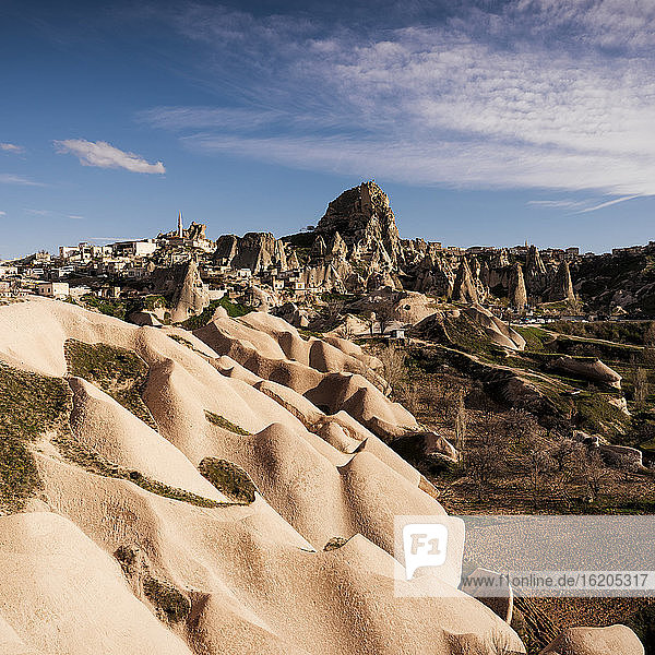 View of rock formations,  Uchisar,  Goreme National Park,  Cappadocia,  Anatolia,  Turkey