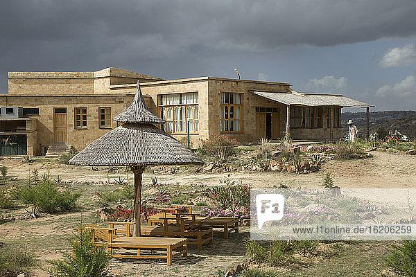 Exterior to Agoro lodge  near Adigrat  Tigray Region. Ethiopia  Horn of Africa