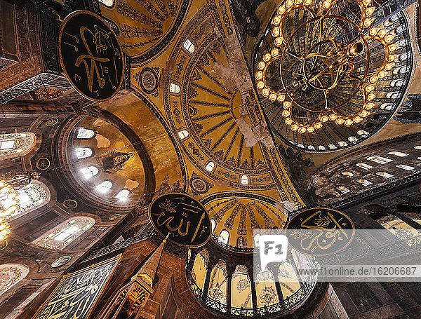 Interior of Hagia Sophia (Aya Sofya)  Sultanahmet  Istanbul  Turkey