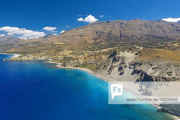 Luftaufnahme des Strandes von Agios Pavlos auf der Insel Kreta  Griechische Inseln  Griechenland  Europa