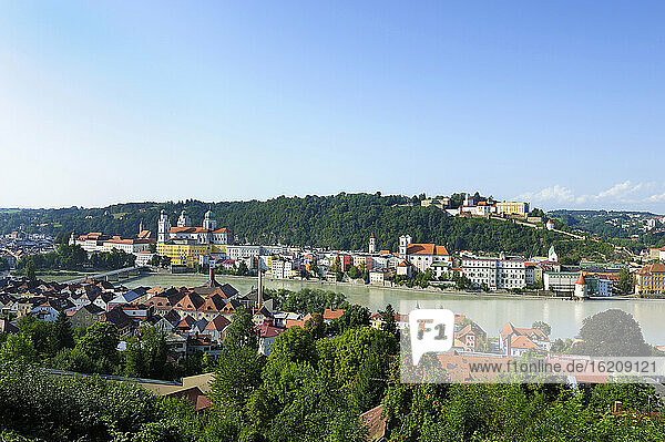Germany  Bavaria  View of Passau with St Stephans Cathedral and Inn river