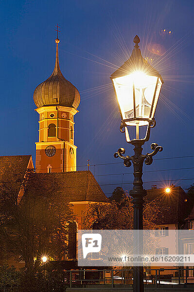 Germany  Allensbach  View of St Nikolaus Church at night