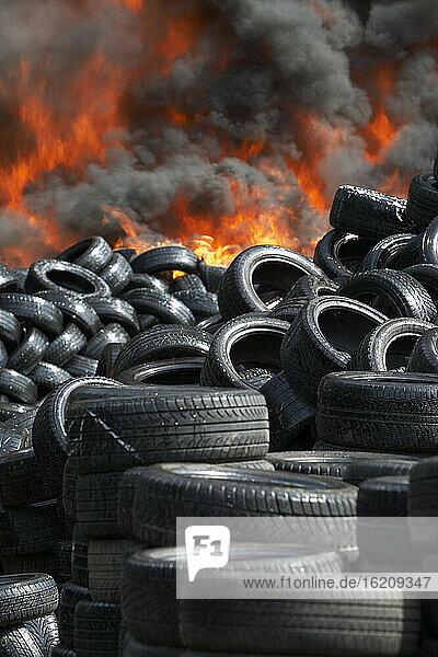 Germany  Hamburg  Burning tires