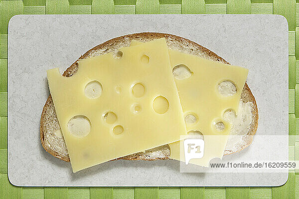 Slice of bread with cheese  elevated view