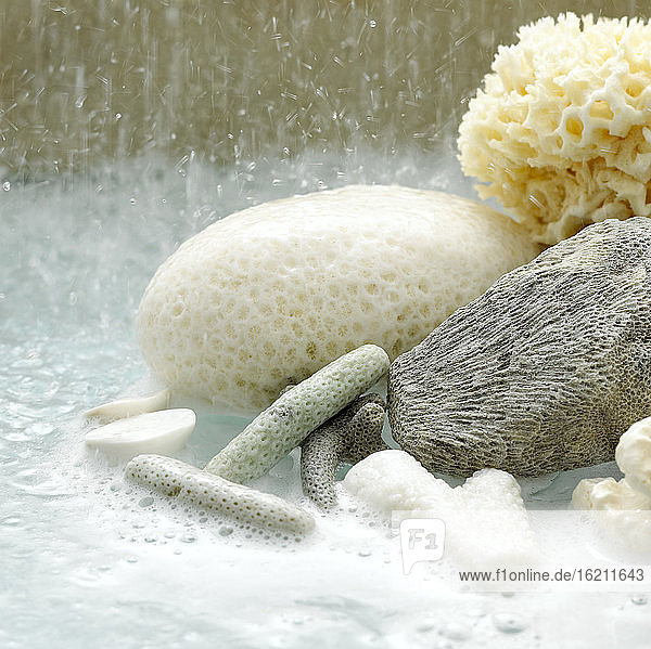 Bubble bath with sponges  close-up