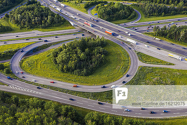 Germany  Baden-Wurttemberg  Stuttgart  Aerial view of traffic on Autobahn A8