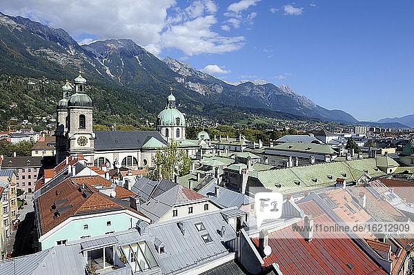 Austria  Tyrol  Innsbruck  View of St Jacob church near Karwendel mountain