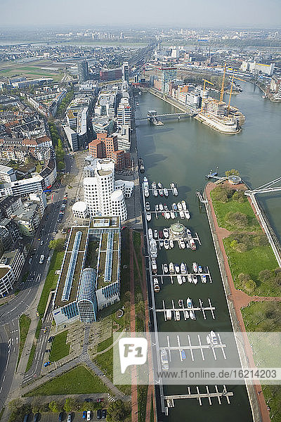 Germany  North-Rhine-Westphalia  Duesseldorf  View of Media Harbour  elevated view