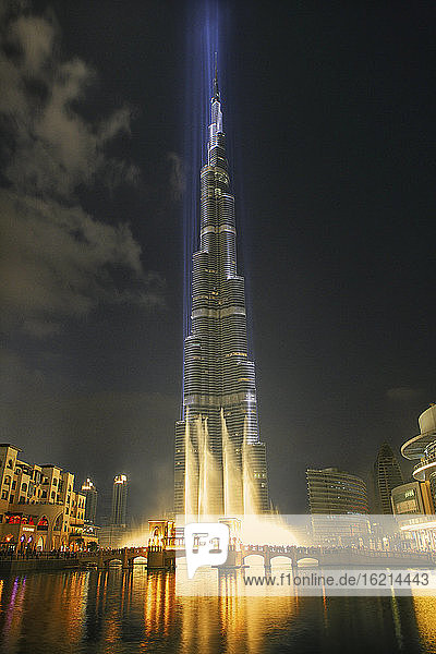 United Arab Emirates  Dubai  Burj Khalifa illuminated at night