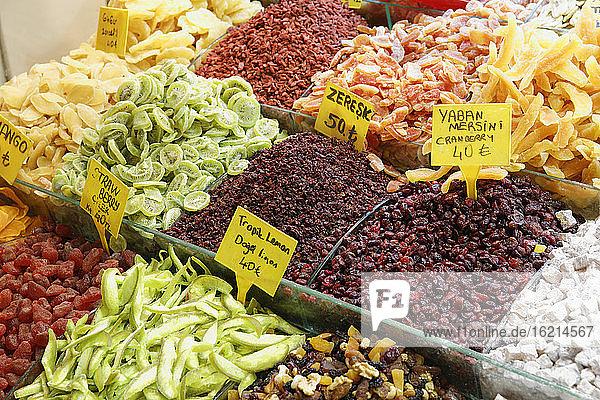 Turkey  Istanbul  Variety of dried fruits at Egyptian Bazaar