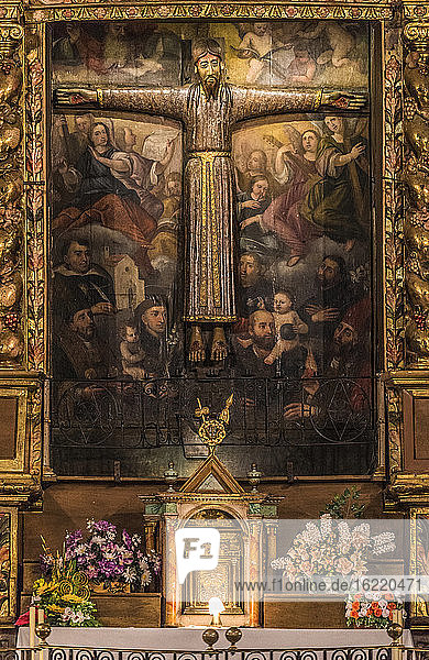 Spain,  Catalonia,  Pyrenees,  province of Girona,  Beget,  Romanesque church of Sant Cristofol,  Christ in Majesty altarpiece detail (12th century)
