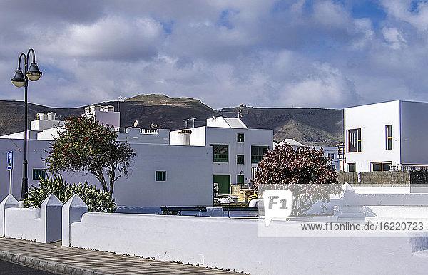 Spain  Canary Islands  Lanzarote Island  chapel of the village of Caleta de Famara