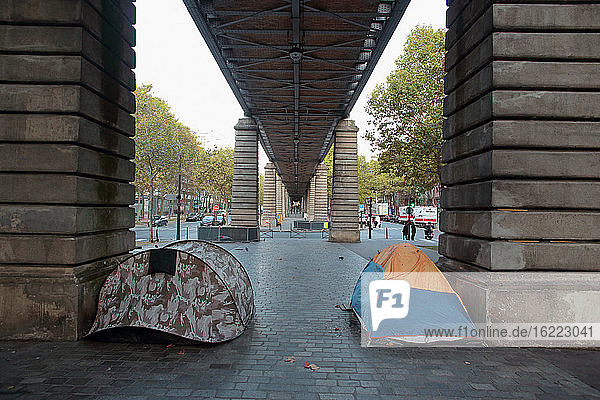 France  Paris  75  13th arrondissement  Boulevard Blanqui  two homeless tents erected under the skytrain