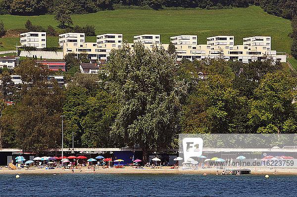 Switzerland  Luzern canton  on Lake of 4 Cantons  Lido beach not far from Luzern
