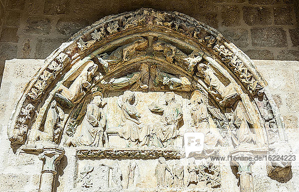 France  Gironde  Haute-Lande girondine  Bazas  collegiate church Notre-Dame d'Uzeste  Coronation of the Virgin on the spandrel of the South Gate