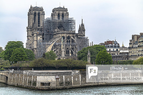 Paris  France  April 16th 2019  View of the Cathedral Notre-Dame of Paris the day after the fire