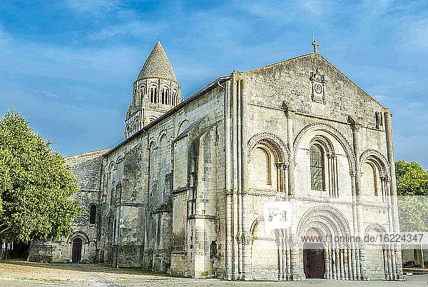 France,  Charente Maritime,  Saintes,  Abbaye-aux-Dames,  facade of the chuch Notre Dame (11th - 12th century) (Saint James way)