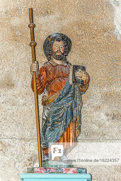 France  Limousin  Correze  Tulle  cathedral Notre-Dame  statue of Saint James the Great (18th century)