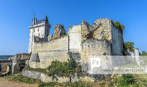 France,  Center-Val de Loire,  Indre-et-Loire,  Royal Fortress of Chinon view from the moat