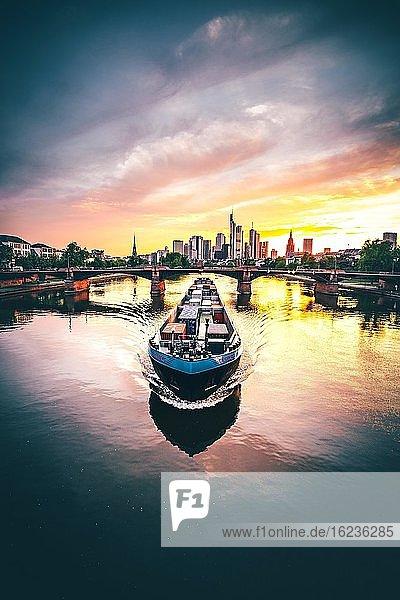 Containerschiff auf dem Main vor Skyline bei Sonnenuntergang  Frankfurt am Main  Deutschland  Europa