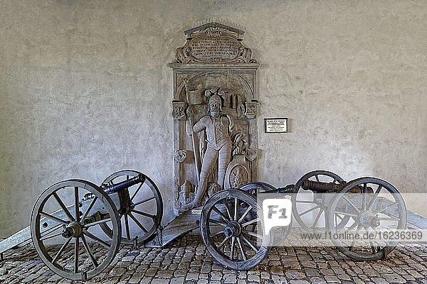 Gedenkstein für Adalbert von Babenberg  drei leichte Kanonen auf Lafetten  Altenburg  mittelalterliche Höhenburg auf 400m  Wahrzeichen Bambergs  1109 erstmals urkundlich erwähnt  Bamberg  Steigerwaldhöhe  Oberfranken  Franken  Deutschland  Europa