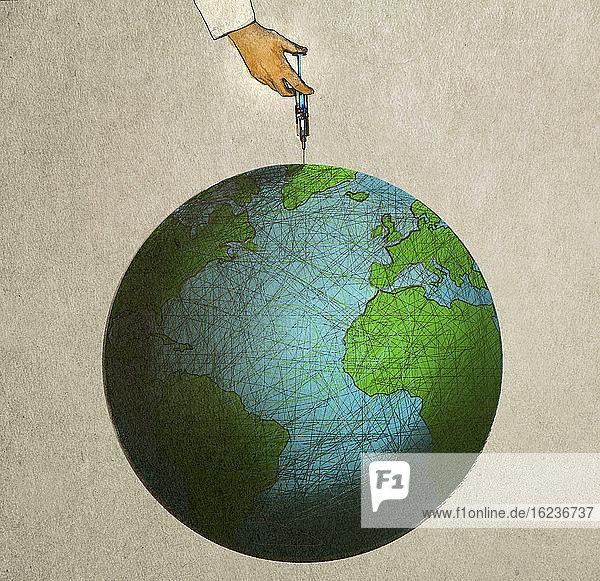 Hand injiziert Globus