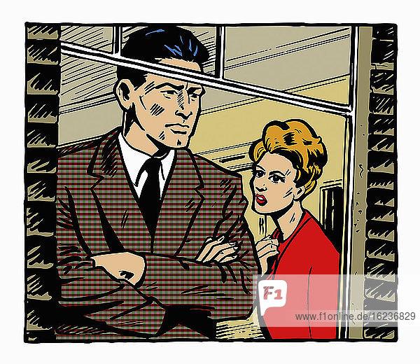 Ängstliche Frau beobachtet Mann  der aus dem Fenster schaut