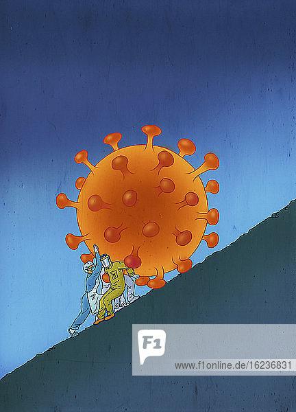 Beschäftigte im Gesundheitswesen kämpfen darum  das Coronavirus einen Hügel hinaufzuschieben