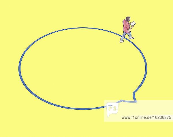 Mann verlässt eine Sprechblase