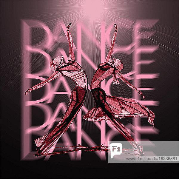 Symmetrische Tänzer elegant ausbalanciert