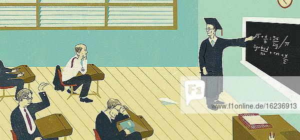 Ungehorsame Geschäftsmänner im Klassenzimmer