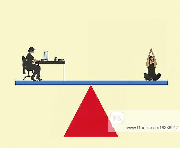 Work-Life-Balance mit Frau auf einer Wippe