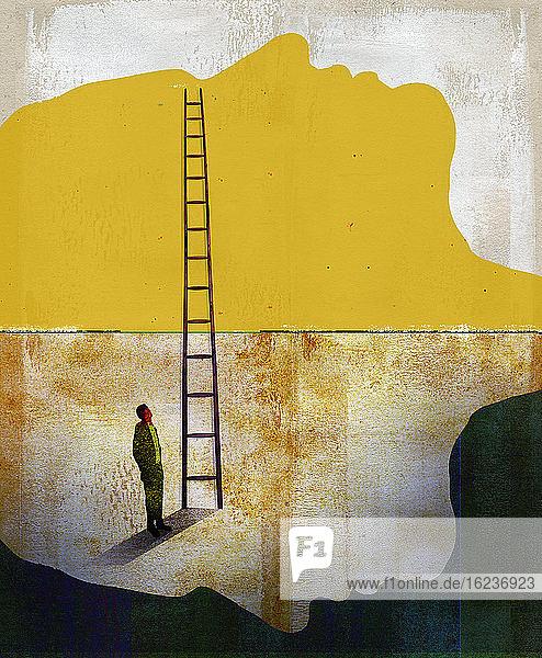Mann am unteren Ende einer Leiter  die vom negativen zum positiven Gesicht führt