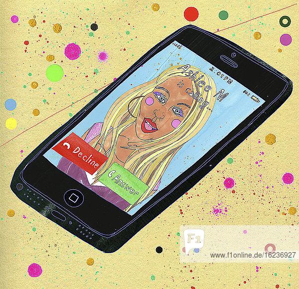 Gesicht einer Frau auf einem Smartphone bei einem Anruf für eine Videokonferenz
