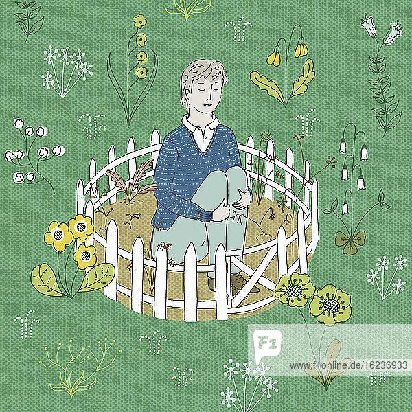 Mann isoliert in kargem Garten umgeben von hübschen Blumen