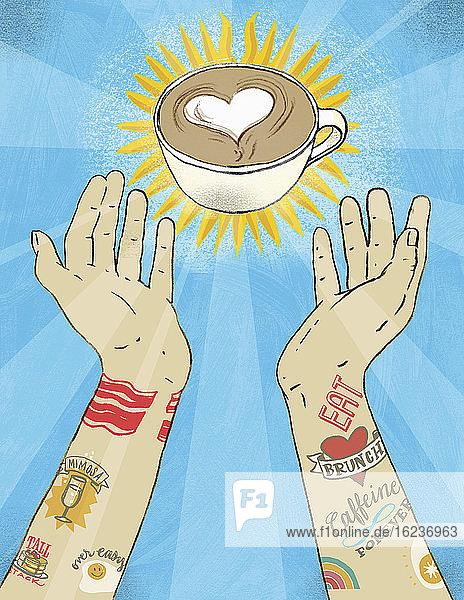 Tätowierte Arme greifen nach einer Tasse Barista-Kaffee