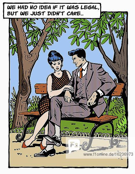 Paar freut sich  auf ein Treffen im Park nach dem Lockdown