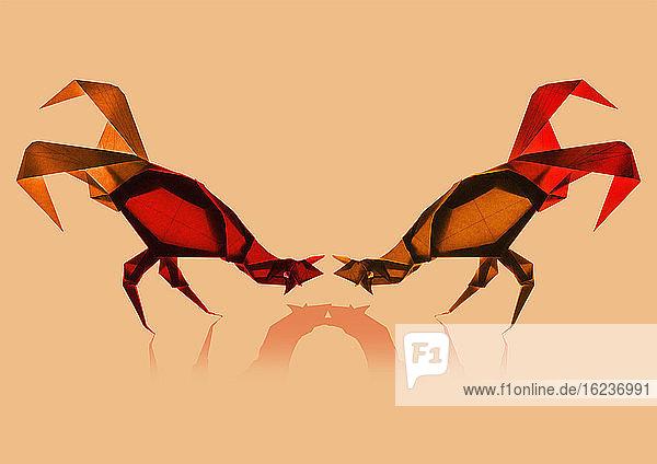 Zwei kämpfende Origami-Hähne