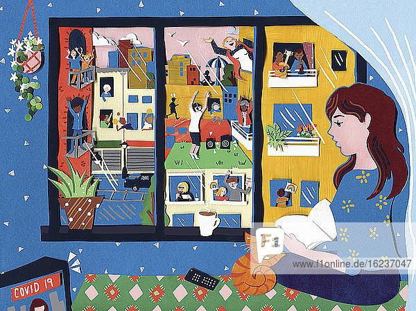 Szene durch ein Fenster mit Menschen,  die sich während des Coronavirus-Lockdowns beschäftigen