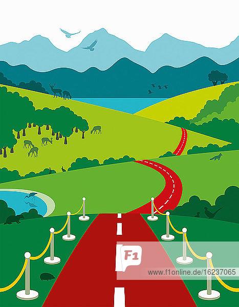 Rote Teppichstraße führt ins Land