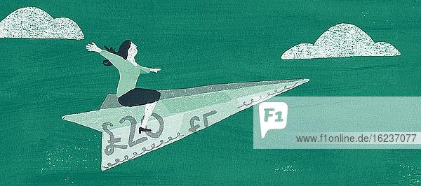 Frau fliegt auf Flugzeug als Pfundschein