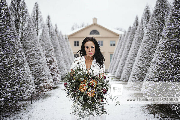 Bride in winter garden