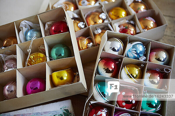 Christmas baubles in boxes