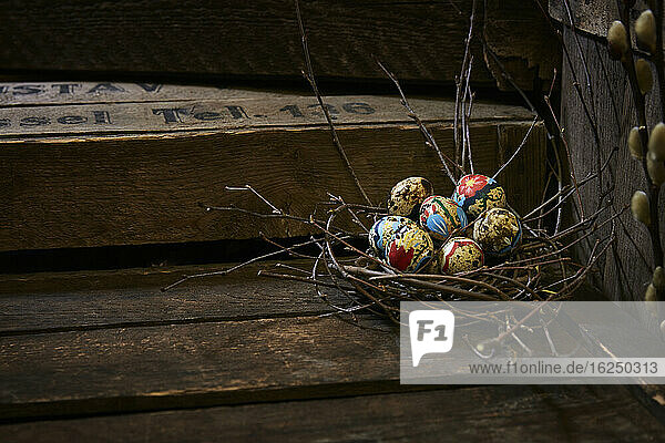 Easter eggs in twig nest