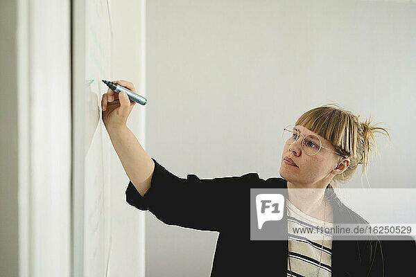 Frau benutzt Whiteboard