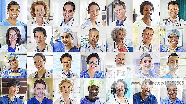 Portrait lächelnder Ärzte und Krankenschwestern bei Videokonferenzen auf dem Bildschirm