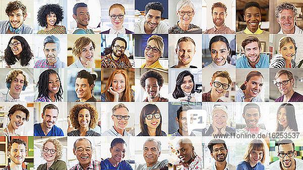 Portrait lächelnd diverse Gemeinde-Videokonferenzen auf dem Bildschirm