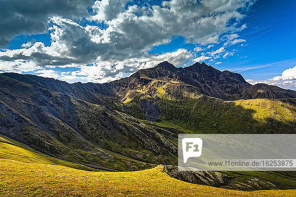 Pioneer Peaks  vom Pioneer Ridge Trail aus gesehen  Chugach State Park  Süd-Zentral-Alaska im Sommer; Palmer  Alaska  Vereinigte Staaten von Amerika